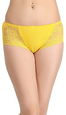 Front listing image for Cotton Mid Waist Hipster With Lacy Side Wings In Yellow