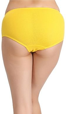 Back listing image for Cotton Mid Waist Hipster With Lacy Side Wings In Yellow