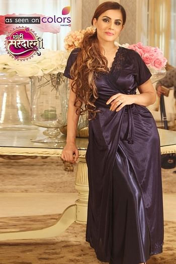 Front listing image for 4 Pcs Satin Nightwear In Navy - Robe, Nightie, Top, Capri
