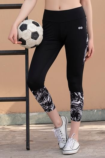 Front listing image for Activewear Gym/Sports Tights with Printed Bottom in Black