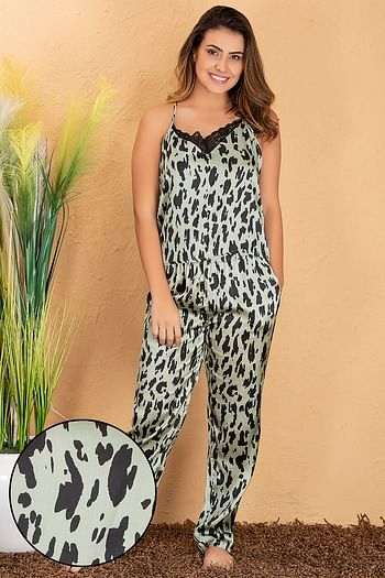 Front listing image for Animal Print Cami Top & Pyjama Set in Light Green - Satin