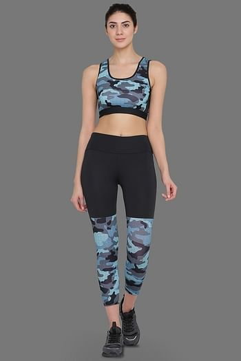 Front listing image for Medium Impact Padded Non-Wired Sports Bra & Tights in Grey