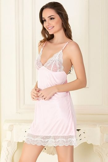 Back listing image for Baby Pink Sexy Short Nightdress