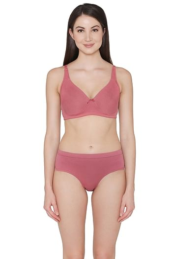 Front listing image for Cotton Rich Non-Padded Non-Wired T-Shirt Bra & Hipster Panty Set in Dusty Pink