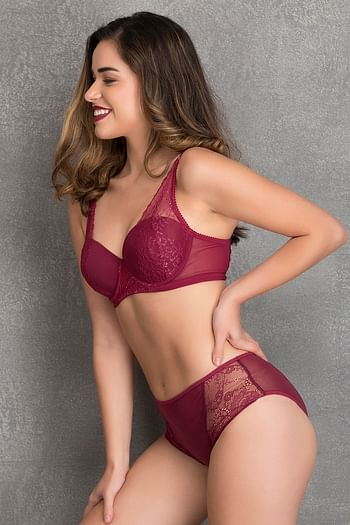 Back listing image for Padded Underwired Level - 2 Push-up Balconette Bra with Hipster in Maroon - Lace