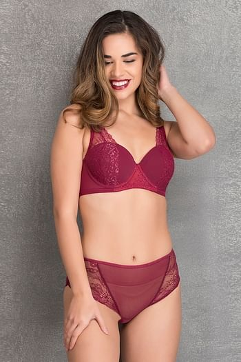Front listing image for Padded Underwired Level - 2 Push-up Balconette Bra with Hipster in Maroon - Lace