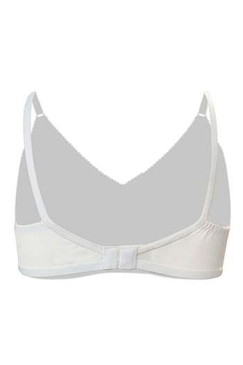 Back listing image for Non-Padded Non-Wired Bra in White - Cotton Rich