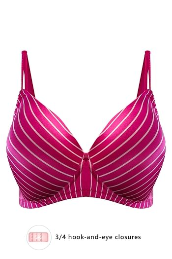 Front listing image for Padded Non-Wired Striped T-Shirt Bra in Dark Pink