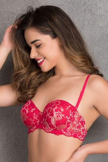 Back listing image for Padded Underwired Level-2 Push-up Multiway Balconette Bra in Dark Pink - Lace