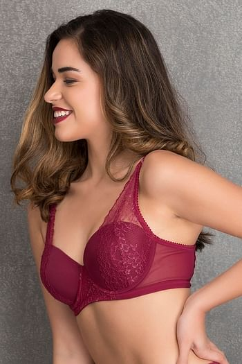 Back listing image for Padded Underwired Level - 2 Push-up Balconette Bra in Maroon - Lace