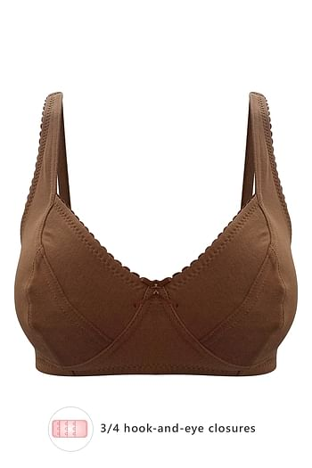 Front listing image for Non-Padded Non-Wired Bra in Dark Brown - Cotton