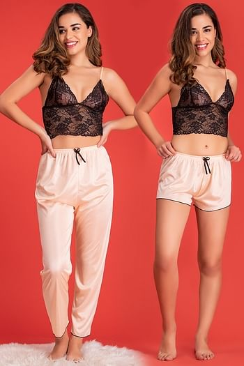 Front listing image for Bralette with Shorts & Pyjama Set in Orange & Black - Lace