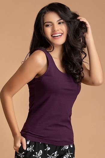 Front listing image for Cami Top in Dark Purple - Cotton