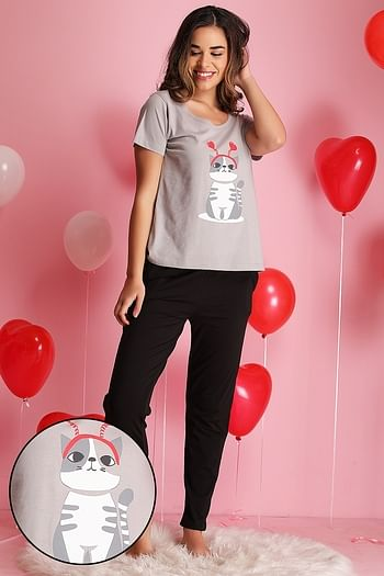 Front listing image for Cat Print Top & Pyjama Set in Grey & Black - Cotton Rich