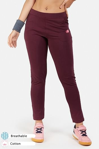 Front listing image for Wine-Coloured Cotton Gym/Sports Activewear Tights