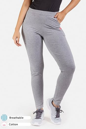 Front listing image for Grey Cotton Gym/Sports Activewear Tights