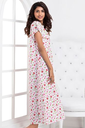 Back listing image for Floral Print Long Night Dress In Pink and White - Cotton