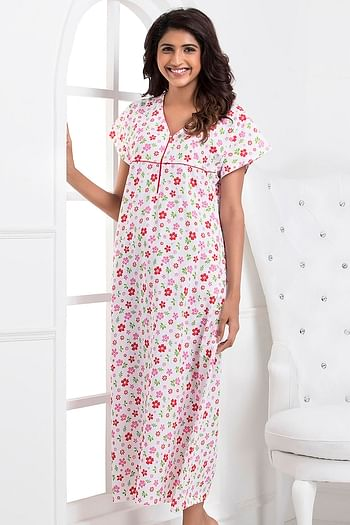 Front listing image for Floral Print Long Night Dress In Pink and White - Cotton