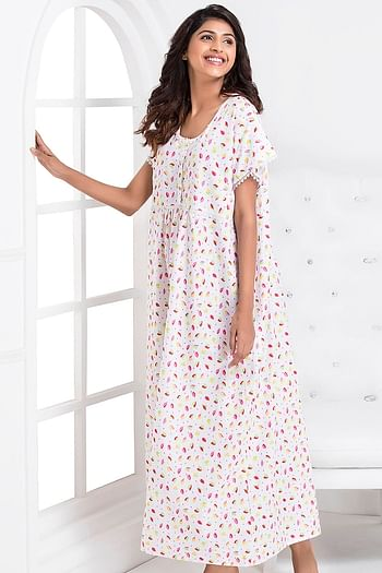 Front listing image for Floral Print Long Night Dress - Cotton