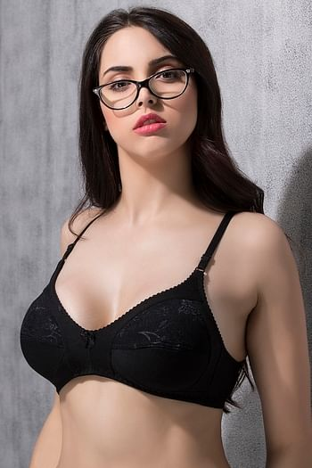 Back listing image for Cotton Rich Full Cup Lacy Bra - Black