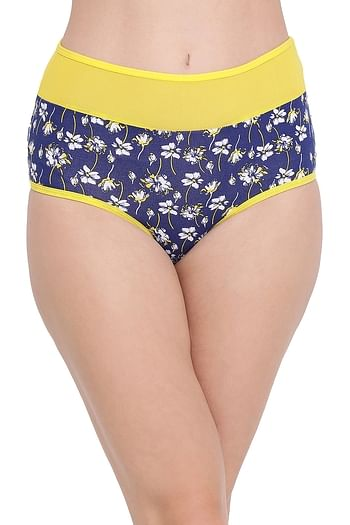 Front listing image for Cotton High Waist Floral Print Hipster Panty with Sheer Waist