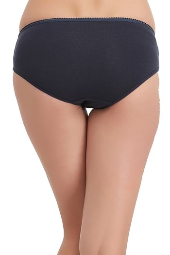 Back listing image for Cotton Mid Waist Hipster Panty In Navy Blue