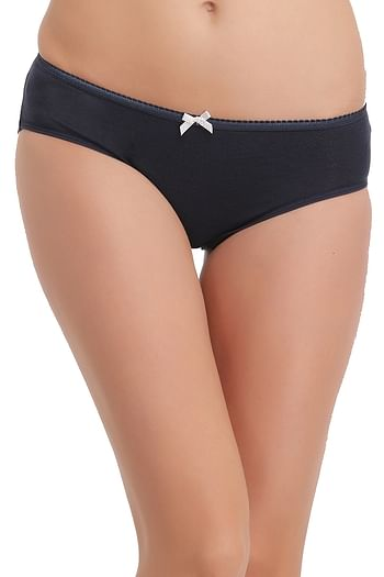 Front listing image for Cotton Mid Waist Hipster Panty In Navy Blue