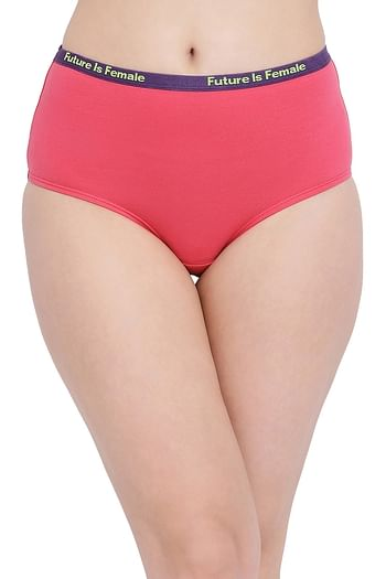 Front listing image for Cotton High Waist Hipster Panty with Printed Waistband In Pink