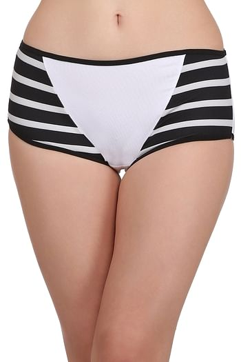 Front listing image for Cotton High Waist Hipster with Contrast Stripes