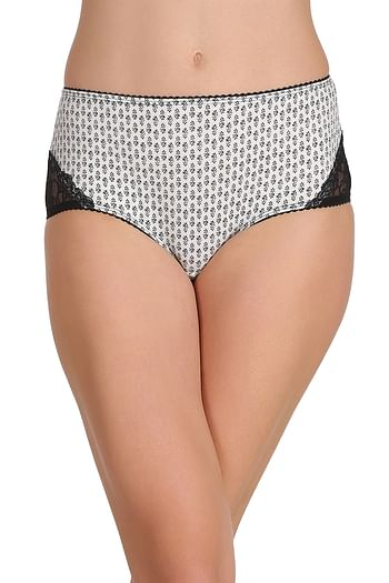 Front listing image for Cotton High Waist Printed Hipster Panty with Lace Sides