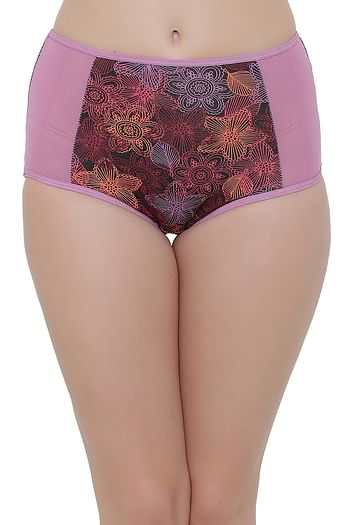 Front listing image for Cotton High Waist Printed Hipster Panty with Powernet Sides