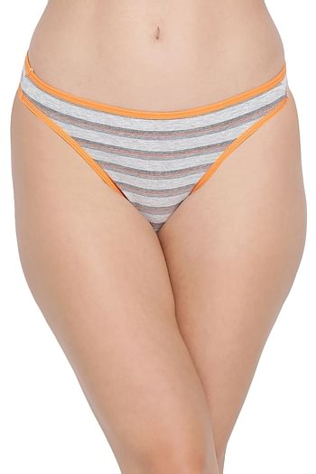 Front listing image for Clovia Cotton Low Waist Striped Thong In Grey
