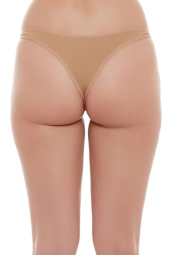 Back listing image for Cotton Low Waist Thong -Nude-Coloured