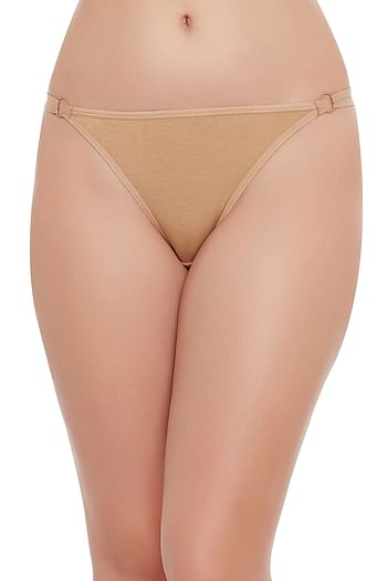 Front listing image for Cotton Low Waist Thong -Nude-Coloured