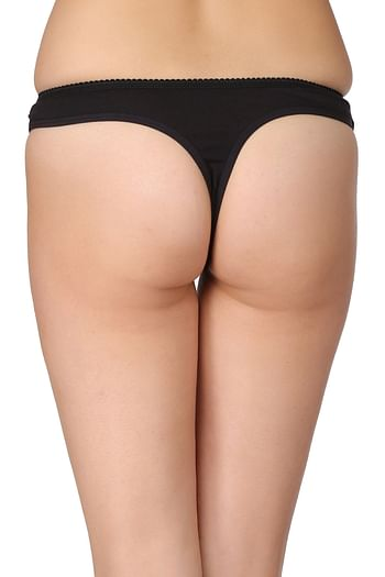 Back listing image for Cotton Low Waist Thong with Powernet at Waist In Black