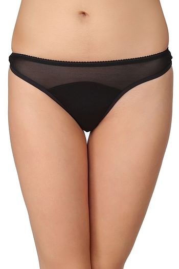 Front listing image for Cotton Low Waist Thong with Powernet at Waist In Black