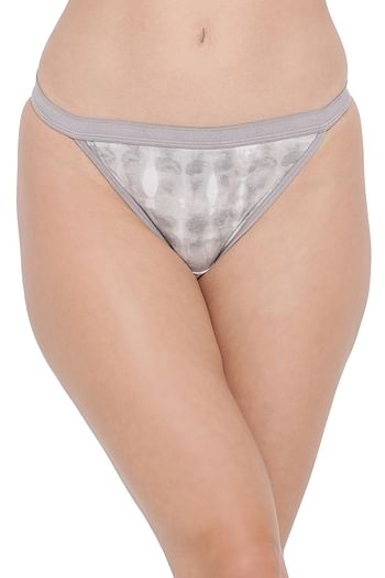 Front listing image for Low Waist Tie-Dye Print Bikini Panty In Grey - Cotton