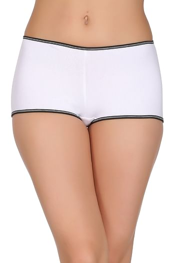 Front listing image for Cotton Mid Waist Boyshorts In White