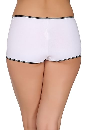 Back listing image for Cotton Mid Waist Boyshorts In White