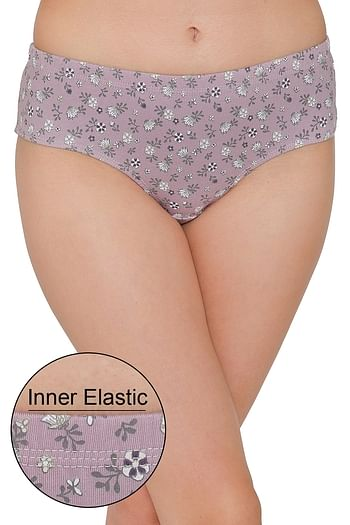 Front listing image for Hipster Mid Waist Floral Print Panty with Inner Elastic - Cotton