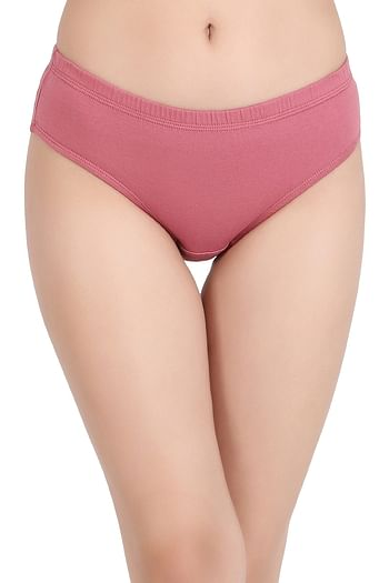 Front listing image for Cotton Mid Waist Hipster Panty with Inner Elastic In Pink