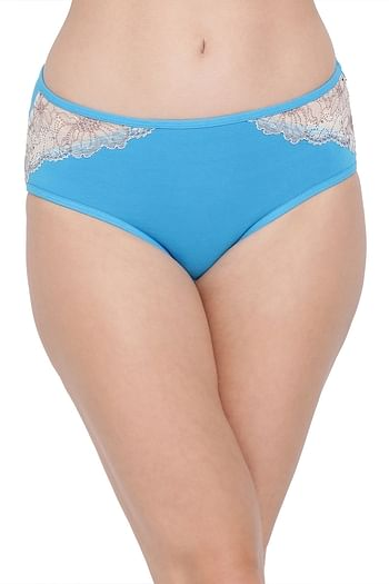 Front listing image for Cotton Mid Waist Hipster Panty with Lace Insert