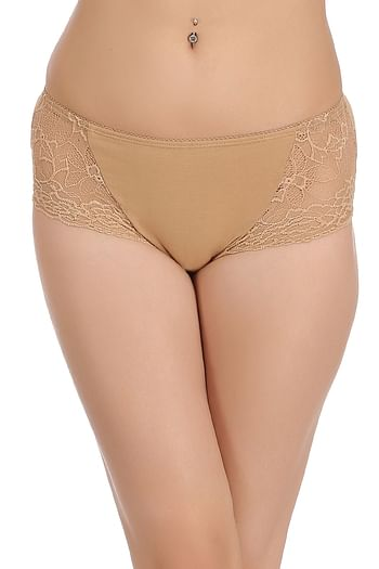 Front listing image for Cotton Mid Waist Hipster With Lacy Side Wings In Nude