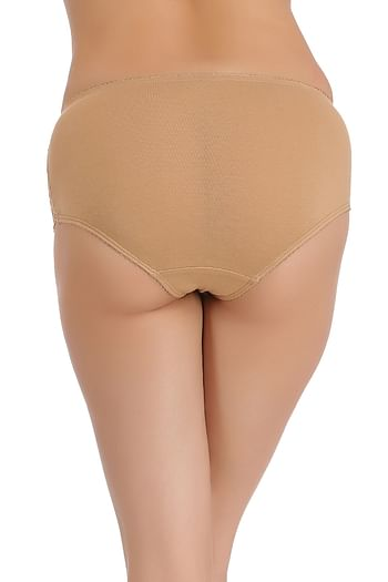 Back listing image for Cotton Mid Waist Hipster With Lacy Side Wings In Nude