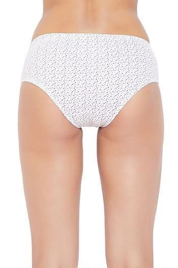 Back listing image for Cotton Mid Waist Polka Print Hipster Panty with Inner Elastic In White