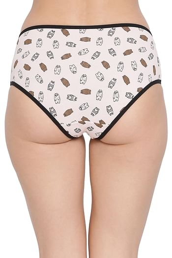 Back listing image for Cotton Mid Waist Printed Hipster Panty In Pink