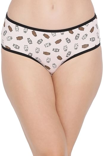 Front listing image for Cotton Mid Waist Printed Hipster Panty In Pink