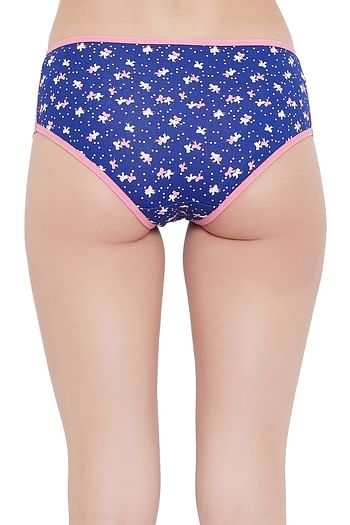 Back listing image for Hipster Mid Waist Printed Panty with Lace Inserts In Blue - Cotton
