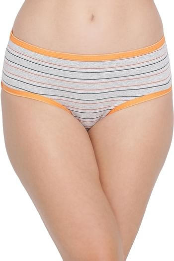 Front listing image for Mid Waist Striped Hipster Panty In Grey - Cotton