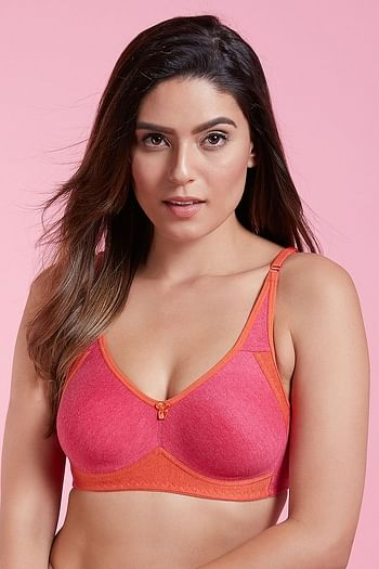 Front listing image for Non-Padded Non-Wired Coloublocked T-shirt Bra - Cotton